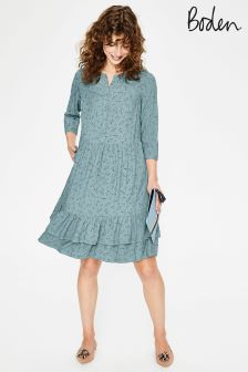 Boden Blue Relaxed Tiered Hem Shirt Dress