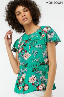 Monsoon Green Lara Print Top