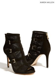 Karen Millen Black Buckle Mesh Shoe Boot