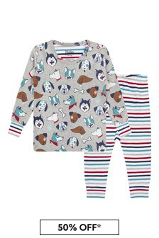 Hatley Kids & Baby Hatley Baby Boys Grey Cute Pups Organic Cotton Pyjama Set