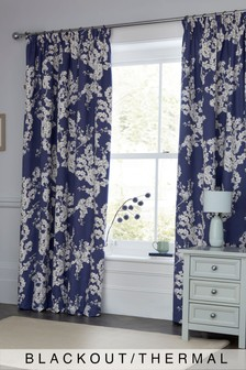 Blueberry Blossom Blackout Pencil Pleat Curtains