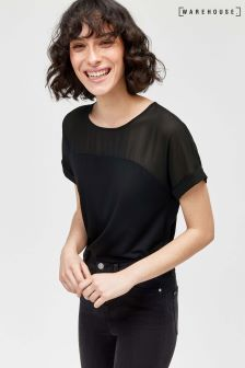 Warehouse Black Short Sleeve Sheer Top