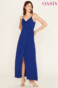 Oasis Blue Ruched Split Front Maxi Dress