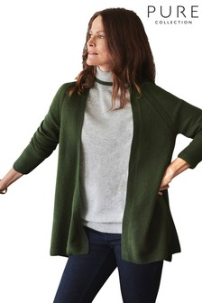 Pure Collection Green Gassato Swing Cardigan
