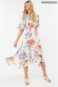 Monsoon Cream Jasmine Print Hanky Hem Dress