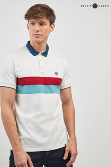 Pretty Green White Chest Stripe Poloshirt