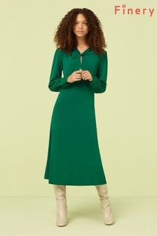 Finery London Bottle Green Aveling Dress