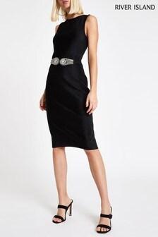 River Island Black Diamanté Belt Velvet Dress