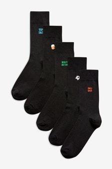 Lot de cinq paires de chaussettes Father's Day à broderies