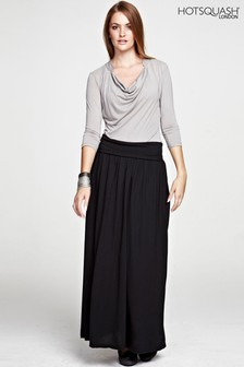 HotSquash Black Luxury Roll Top Maxi Skirt