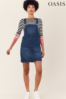 Oasis Blue Denim Dungaree Dress