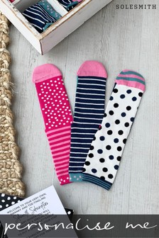 Personalised Women's Three Month Slogan Sock Subscription by Solesmith