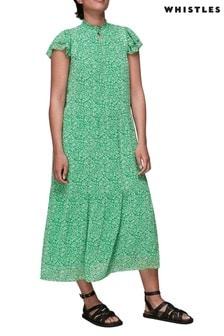 Whistles Green Indo Floral Print Trapeze Midi Dress