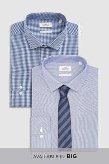 Karierte und strukturierte reguläre Hemden mit Krawatte, 2er-Pack
