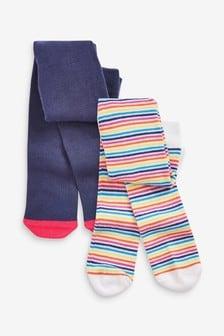 2 Pack Rainbow Stripe Tights (0mths-2yrs)