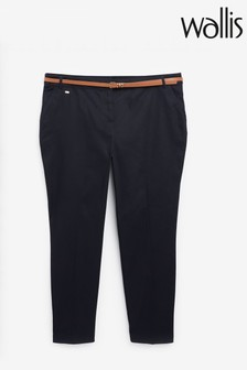 Wallis Navy Cotton Belted Cigarette Trousers
