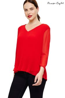 Phase Eight Red Ella Pleat Blouse