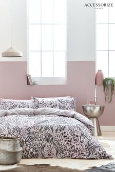 Accessorize Savannah Animal Print Cotton Duvet Cover And Pillowcase Set