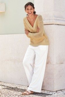 9edc01dc81a64 Linen Blend Wide Leg Trousers