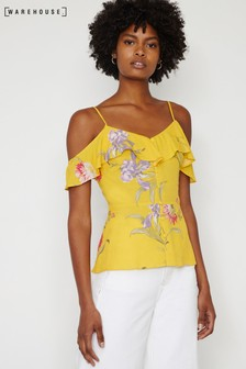 Warehouse Yellow Iris Floral Cold Shoulder Top