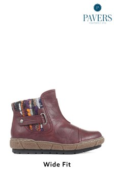 Pavers Burgundy Ladies Ankle Boots