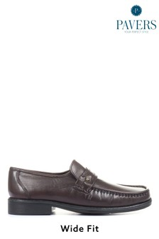 Pavers Mens Red Wider Fit Leather Loafers