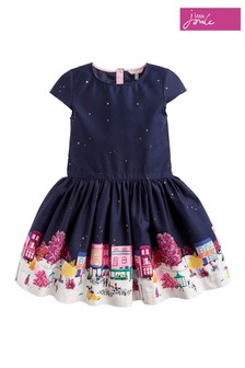 Joules Navy House Border Printed Party Dress