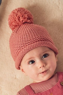Knitted Pom Hat (0mths-2yrs)