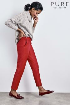Pure Collection Red Tailored Ankle Length Trouser
