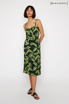 Warehouse Black Banana Leaf Pique Midi Dress