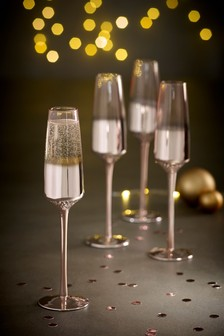 Rosa Metallic Embossed Set of 4 Flute Glasses