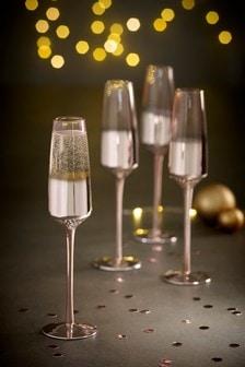 Rosa Metallic Set of 4 Flute Glasses