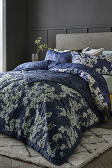 Cotton Sateen Blueberry Blossom Duvet Cover And Pillowcase Set