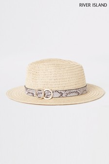 River Island Beige Natural Fedora Hat