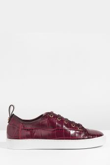 Jigsaw Red Asa Croc Leather Trainer