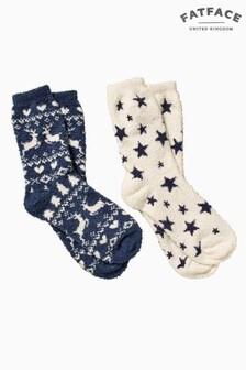 FatFace Blue Fairisle Pattern Fluvia Socks Two Pack