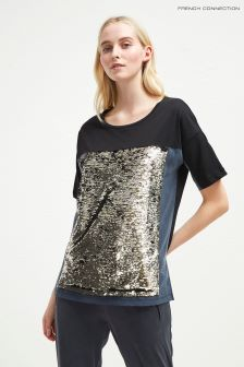 French Connection Black/Gold Sequin Oversized Tee