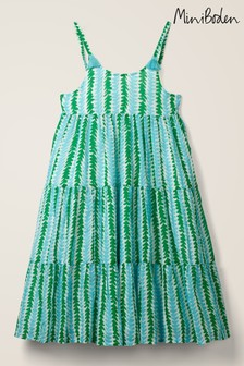 Mini Boden Blue Tiered Tassel Dress