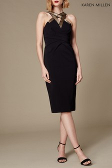 Karen Millen Black Interlaced Geo Trim Dress