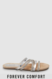 Forever Comfort Diamanté Asymmetric Sandals