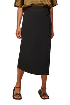 Whistles Black Belted Ponte Wrap Skirt