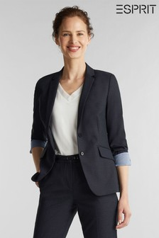 Esprit Blue Structure Mix + Match Tailored Fit Blazer