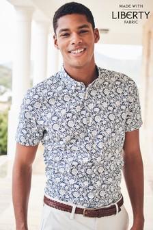 Navy/White                     Slim Fit                     Liberty Fabric Short Sleeve Shirt