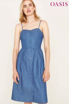 Синее платье миди на бретелях с вышивкой ришелье Oasis
