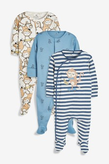 Monkey Character Sleepsuits Three Pack (0mths-2yrs)