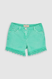 Lace Hem Denim Shorts (3-16yrs)
