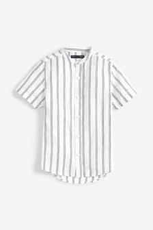 Short Sleeve Stripe Linen Mix Shirt (3-16yrs)