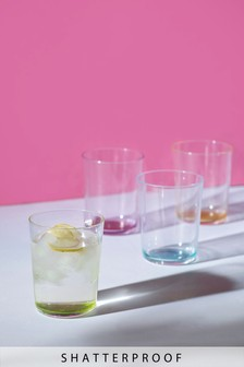 Set of 4 Plastic Tumbler Glasses