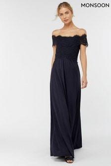 Monsoon Ladies Blue Valerie Jersey Maxi Dress