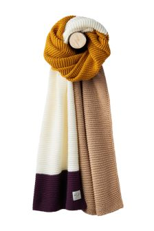 Joules Plum Oversized Knitted Scarf